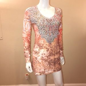 Tunic Top V Neck Bling Long Sleeve NEW USA Made